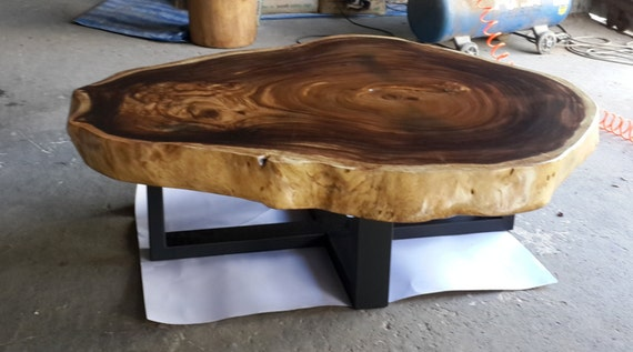 Live Edge Round Coffee Table Reclaimed Acacia Wood Solid Slab