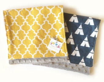 Navy TeePees / Mustard Quatrefoil  -  Baby Boy Burp Cloth Rag Set - Cotton + gray minky - Woodland Shower Gift - Ready to Ship