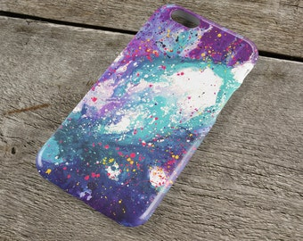 Stardust iPhone Case - Purple White and Teal Abstract Art Unique iPhone Case for iP4, iP5/S/SE, iP5C, iP6/S, iP6+/S, iPod Touch 5
