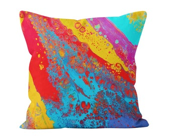 Abstract Square Pillow - Rainbow Fluid Art Square Decorative Art Cushion Based On Original Fluid Painting Red Yellow Blue, Turquoise & Pink