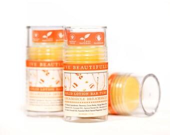 SUMMER SALE - Creamsicle Dreamsicle Lotion Bar - Sweet Orange and Vanilla - All Natural Lotion Bar Tube