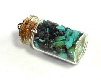 Turquoise Stone Chips, Cork Bottle Pendant or Charm, 46mm, Turquoise Blue and Black Stone, Craft Beading, Metaphysical Rocks
