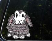"CLR:CAR - Bunny - Patterned Bunny Rabbit - Vinyl Car Decal - Copyright ©2016 Yadda-Yadda Design Co. (5""w x 5.5""h)"