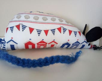 Hand Made Catnip Mouse - Seaside Beach Huts - Cat Toy