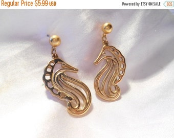 50% OFF SALE Avon Dangling Seahorse Pierced Gold Tone Earrings