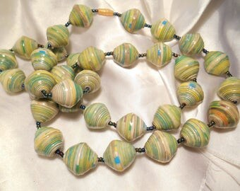 Multi Shades of Green and Yellow Swirl Painted Plastic Bead Statement Necklace