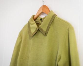 Womens vintage tunic / winter / lime green / collar / medium - large