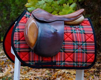 MADE TO ORDER - Red, Green, and Black Plaid Saddle Pad