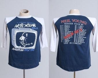 1983 Neil Young Solo Tour Hippie Rock American Legend Baseball T Shirt
