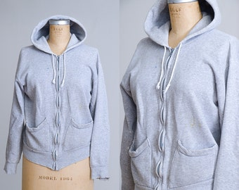 1950s Sweatshirt Healthknit Heathered Grey Hooded Two front Pockets Weather Repellent Cotton Sweatshirt