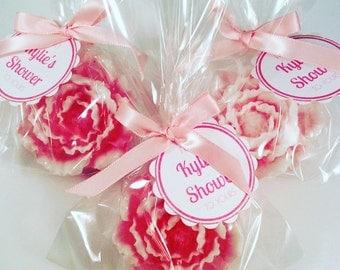 50 Peonies Soap Favors / Peony Favors / Wedding Flower Favors / Bridal Favors / Party Favors / Soap Favors