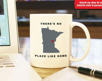 Minnesota MN Coffee Mug Cup, No Place Like Home, Gift Present, Wedding Anniversary, Personalized Color, Custom Location Minneapolis, St Paul