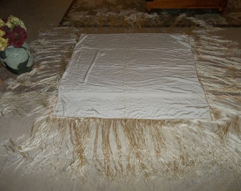 Vintage Canton Chinese Silk PIANO SHAWL...Good Condition...Large ...Heavy Silk..Wedding