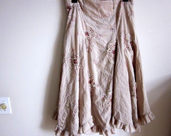 Tattered chic Cotton skirt boho chic ethnic hippie full swing M medium