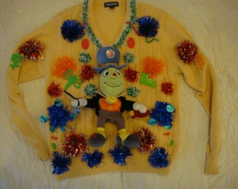 fast shipping jiminy cricket pinocchio ugly christmas woman large sweater green orange tacky party winner large woman