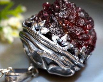 Rhodolite Necklace Pink Garnet Rough Crystal Pendant Sterling Silver Jewelry