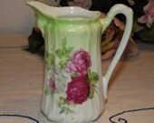 beautiful small pitcher / pourer ~ marked Royal Rose Wheelock & Co. 9 Germany ~ victorian ~ shabby ~ porcelain ~ roses