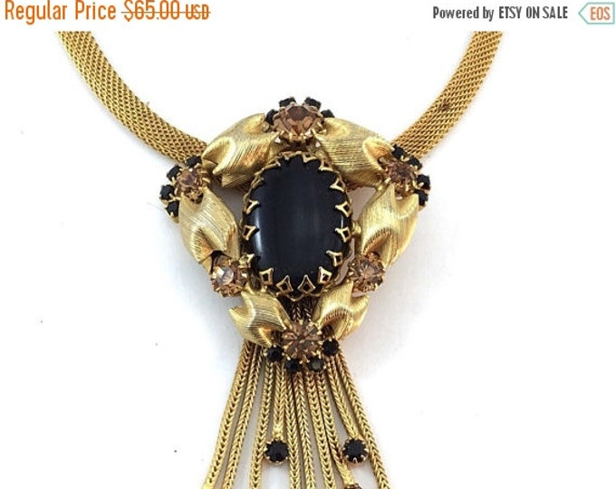 25% OFF Beautiful Alice Caviness Style, Vintage Gold Mesh Rhinestone Necklace Featuring Black and Sparkly Topaz Rhinestones,