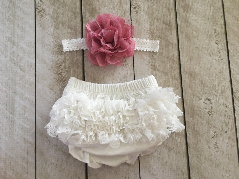 Baby Girl Ruffle Bottom Lace Bloomer Amp Headband Set In Off