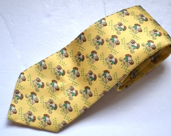 Vintage authentic Hermes Paris classic yellow tie Asian rice patty farmers oriental print pattern 100% silk tie 7535 IA tie  Made in France