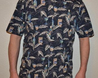 Vintage  90s Mens vintage designer Hawaiian Campia Moda shirt  Hawaiian drinks  Floral Tropical Island Style Shirt M Valentines Father day