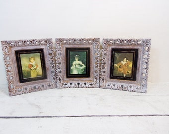 Three Vintage Porcelain Portrait Victorian Fragonard Ornate Chalk painted Gold Frames