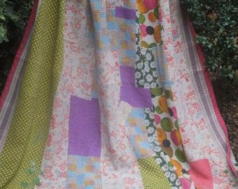 Pastel Kantha, Sari blanket, kantha throw, Vintage kantha quilt, Sari throw, Kantha blanket,Pretty Pastel Patchwork kantha quilt,