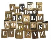"ONE brass stencil vintage sign letter, 2 1/2"" sign making, vintage mercantile, retro office decor, industrial design"