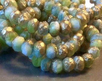 Czech Rondelle Bead 9mm x 6mm Opaque Olivine and Aqua Blue Mix Etched Gold Finish 1 Strand