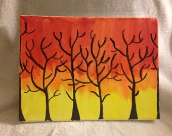 Trees at Sunset Painting