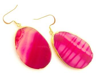 Hot Pink Bridesmaid Earrings, Agate Slab Earrings, Agate Slice Earrings, Hot Pink Statement Earrings, Pink Stone Bridesmaid Earrings