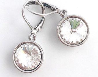 Swarovski Crystal Round Drop Dangles Sterling Silver Leverback Earrings Bridesmaid Earrings Wedding Day