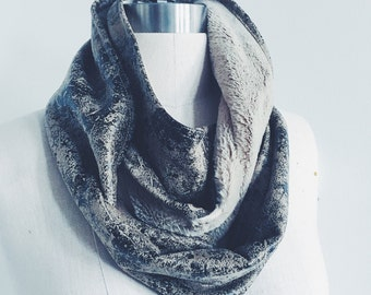 Ready to Ship Unisex Faux Fur Distressed Vegan Leather Infinity scarf Neck Cowl Wrap