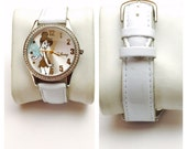 Disney Tinker Bell Wrist Watch, silver Tone, white plastic band, Clearance Sale, Item No. B200