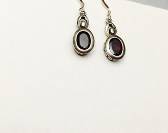 Vintage Garnet, Sterling Silver Earrings, January Birthstone, Pre Holiday Sale, Item No. S381