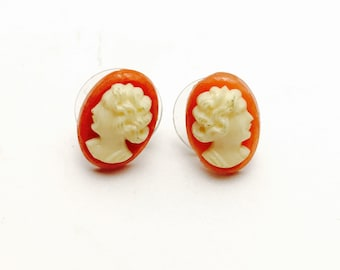 Cameo Earrings, Pink and White, Art Deco Design, Clearance Sale, Item No. B686