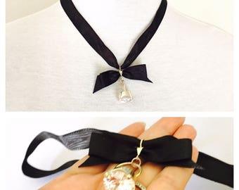 Vintage Clear CZ pendant Black Choker/Necklace, Silver, romantic design, item No S772