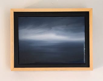 """Framed 5"""" x 7"""" oil painting, contemporary resin art, seascape, atmospheric waterscape, small work."""