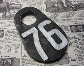 Vintage Cattle Tag Number 76 Tag Large Soft Rubber Plastic Livestock Bull Tag 1976 Year Black & White Industrial Tag Numbers Keychain Tag