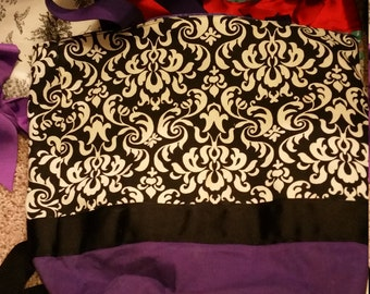 Classic Damask Shabby  white & Black Purse Tote BAG or Diaperbag