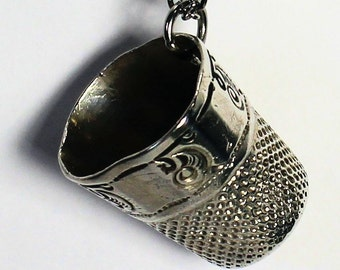 BAD Kisser - Peter Pan Thimble Necklace Beat Up Bashed Thimble Sterling Silver and Stainless Steel