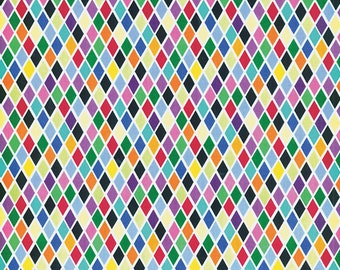 Multi-color diamonds Cotton Fabric, Northcott Colorworks Concepts
