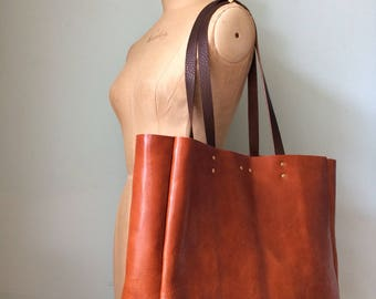 Leather tote bag, tan brown leather book bag, simple veg tan leather tote