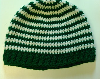White and Green Striped Teen/Adult Hat - Ready to Ship