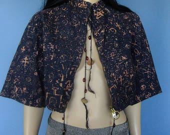 black crop jacket, 90's vintage jacket, printed short jacket, jacket sm
