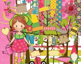Little Gardener Scrapbook, Gardening Scrabook, Outdoors Scrapbook Kit, Girl Scrapbook, Nature Scrapbook, Nature Scrap Kit, Instant Download