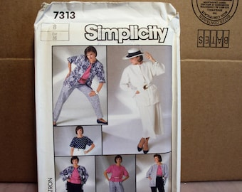 Sewing pattern skirt, pants, unlined jacket blouse,   Simplicity 7313, retro pattern, 1980s style