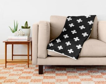 36 colours, Swiss Cross Throw Blanket, Black and White, Swiss Cross Pattern, living room decor, Nordic, polyester and sherpa fleece