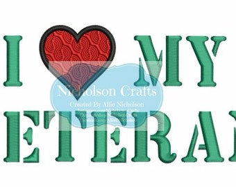 I Heart My Veteran machine applique/filled embroidery design - 5X7