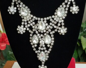 Vintage Rhinestone Bib Necklace, Statement Necklace, Huge Glitzy Party Jewelry Bling